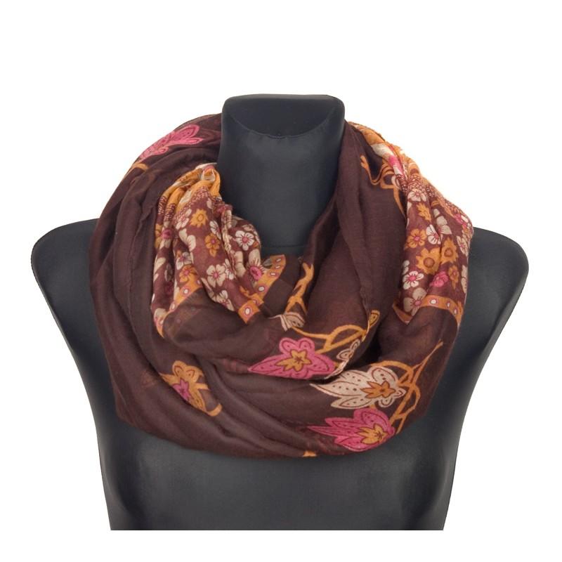 Szalik w kwiatki – brązowy