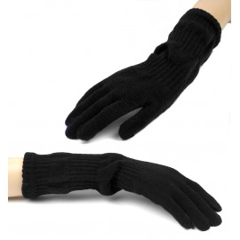 Damskie długie rękawiczki - czarne