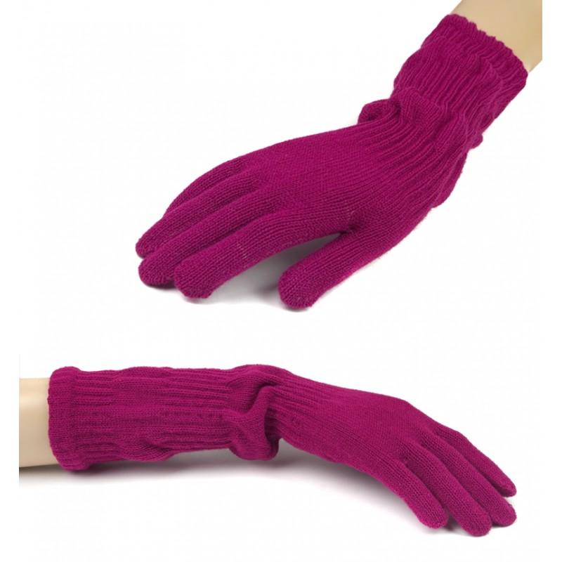 Damskie długie rękawiczki - amarantowe różowe