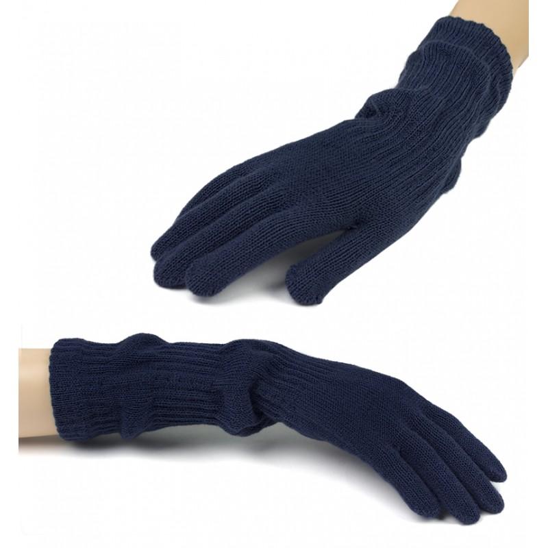 Damskie długie rękawiczki - granatowe