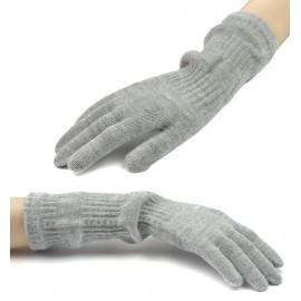 Damskie długie rękawiczki - popielate szare