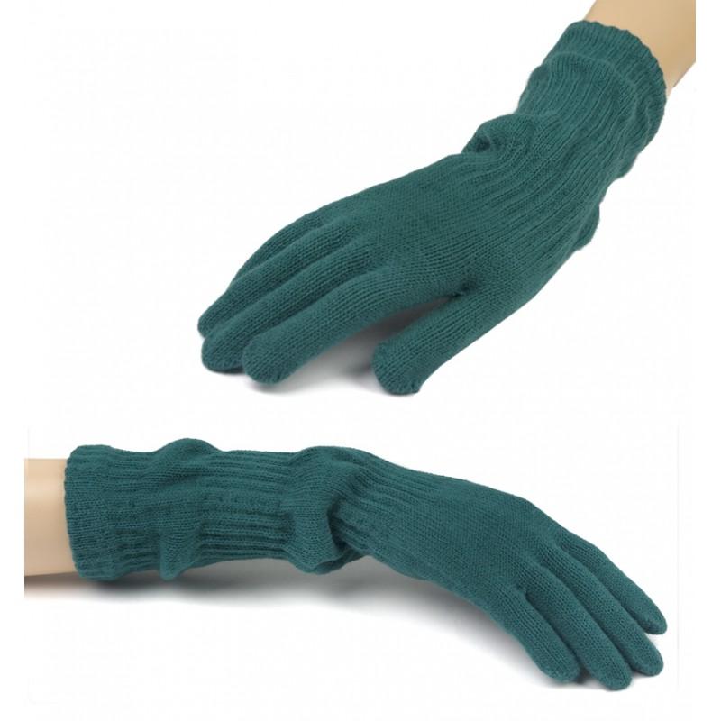 Damskie długie rękawiczki - morskie zielone