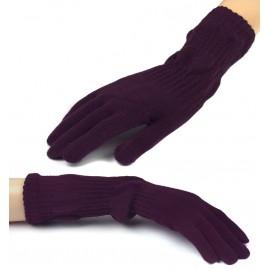 Damskie długie rękawiczki - śliwkowe fioletowe