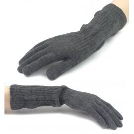 Damskie długie rękawiczki - grafitowe szare