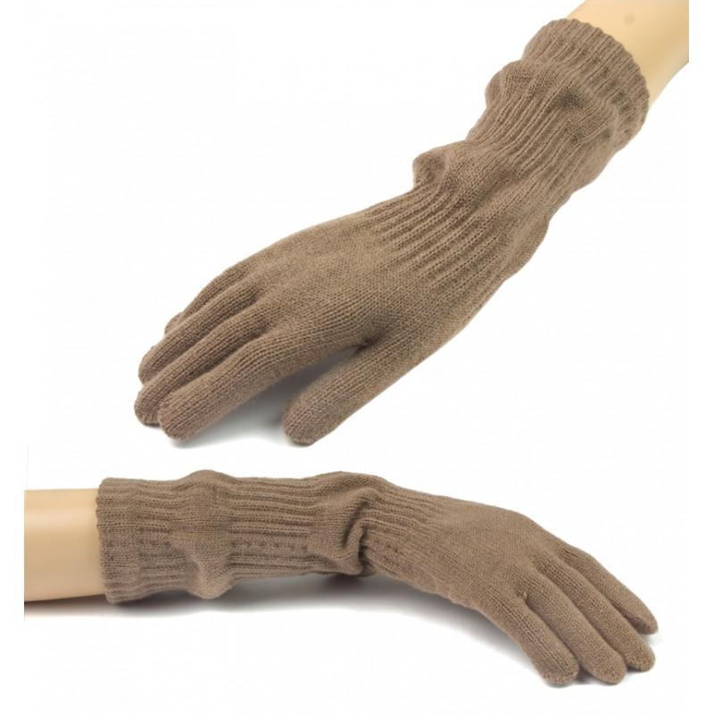 Damskie długie rękawiczki - cappuccino beżowe