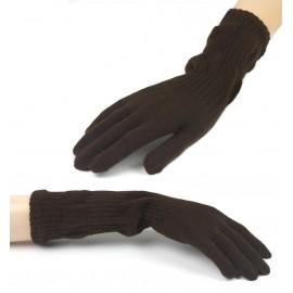 Damskie długie rękawiczki - brązowe