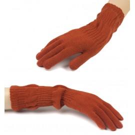 Damskie długie rękawiczki - rude