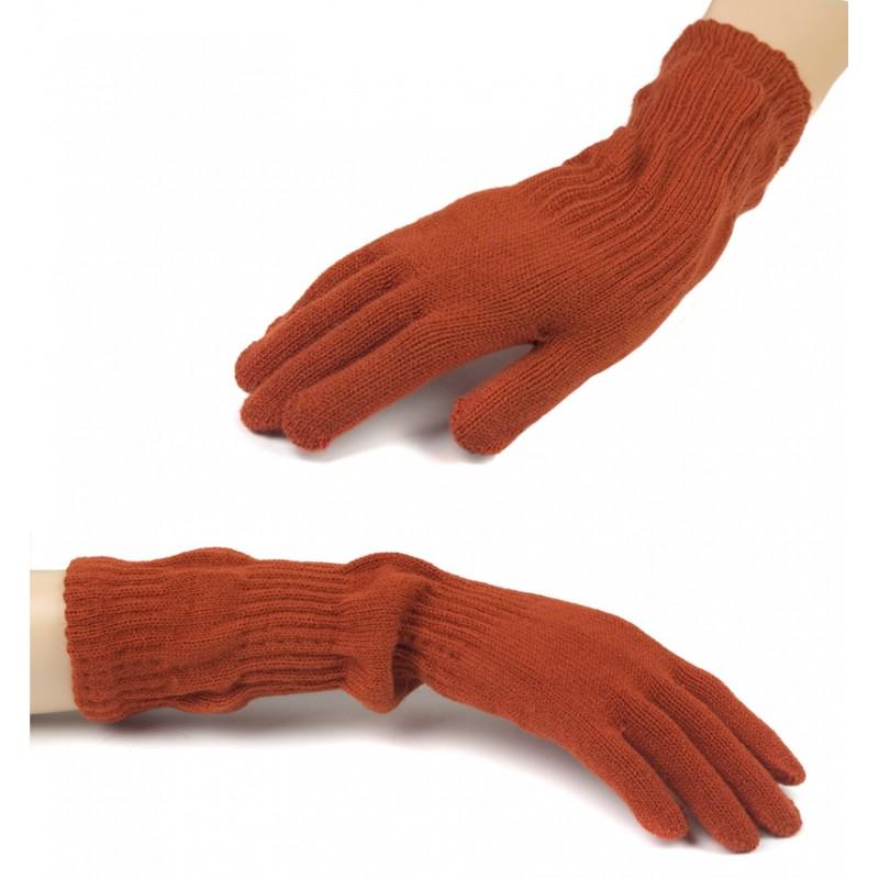 Damskie długie rękawiczki - rude pomarańczowe
