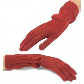 Damskie długie rękawiczki - koralowe