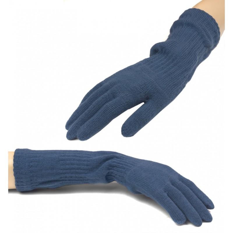 Damskie długie rękawiczki - jeansowe niebieskie