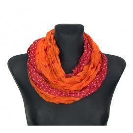 Apaszka w groszki – oranż z czerwienią
