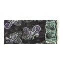 Szalik komin wzorzysty – czarny z fioletem i seledynem