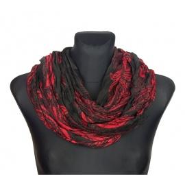 Szalik komin wzorzysty – czarny z czerwienią