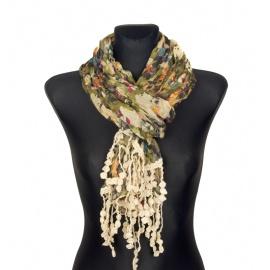 Kolorowy szalik w kwiaty z koralikami (43)