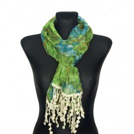 Kolorowy szalik w kwiaty z koralikami (45) – zielony z błękitem