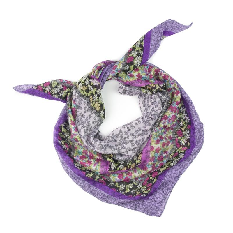 Chusta w kwiatuszki – fioletowa