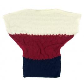 Ażurowy sweterek nietoperz w paski – granat / bordo / kremowy
