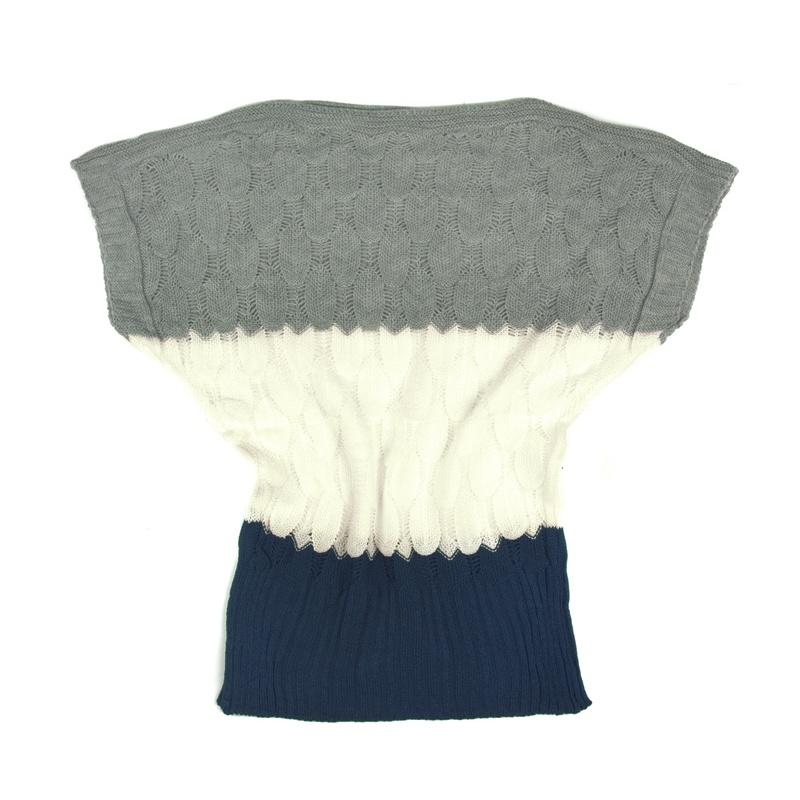 Ażurowy sweterek nietoperz w paski – granat / popielaty / kremowy