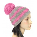Czapka zimowa damska Pola z dużym pomponem - beżowo-różowa