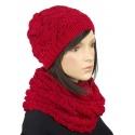 Komplet zimowy Hela czapka damska i szalik komin - czerwony
