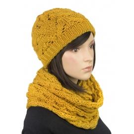 Komplet zimowy Hela czapka damska i szalik komin - musztardowy żółty