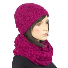 Komplet zimowy Hela czapka damska i szalik komin - amarantowy różowy