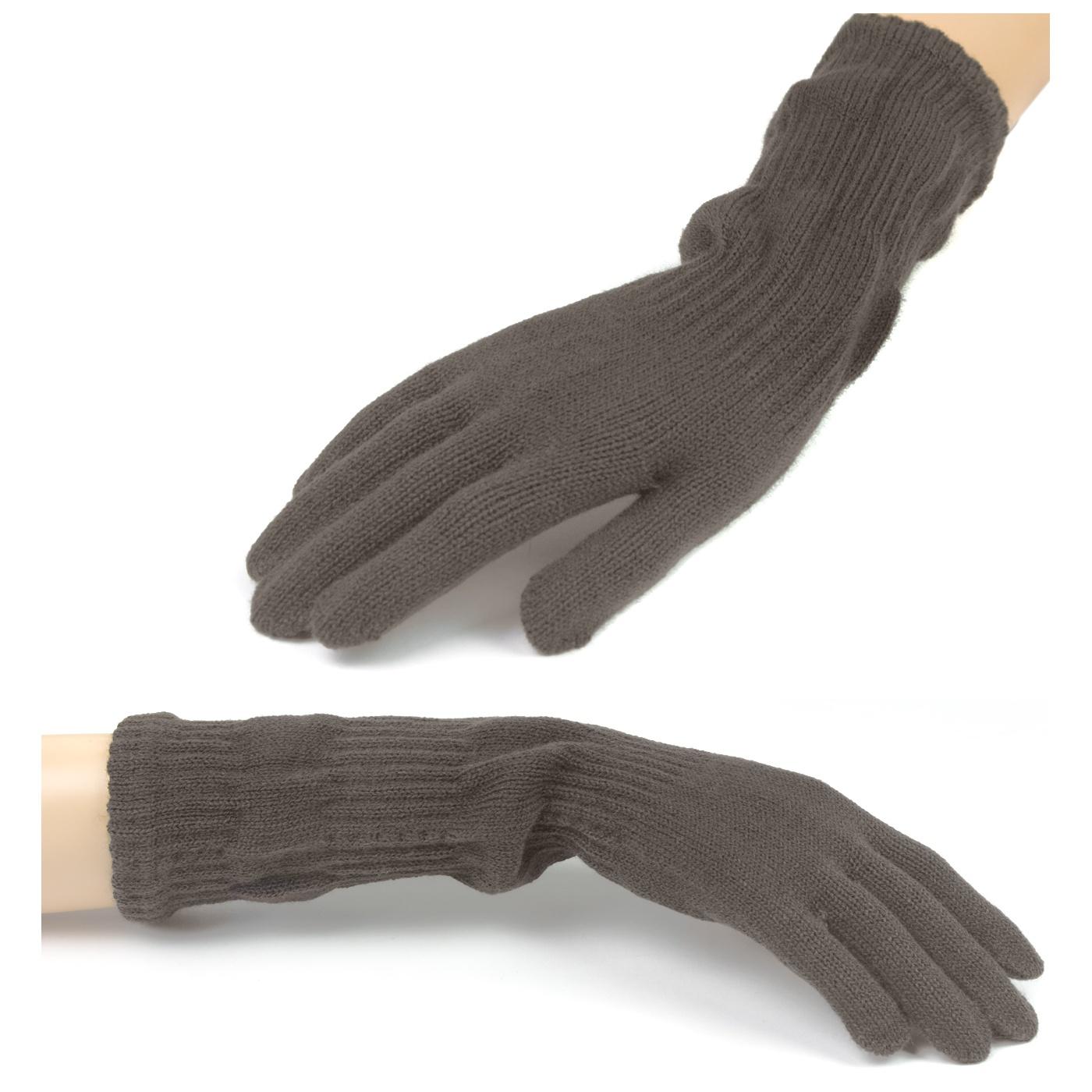 Damskie długie rękawiczki - ciemne cappuccino