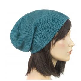 Długa czapka zimowa damska Edna – morska zielona
