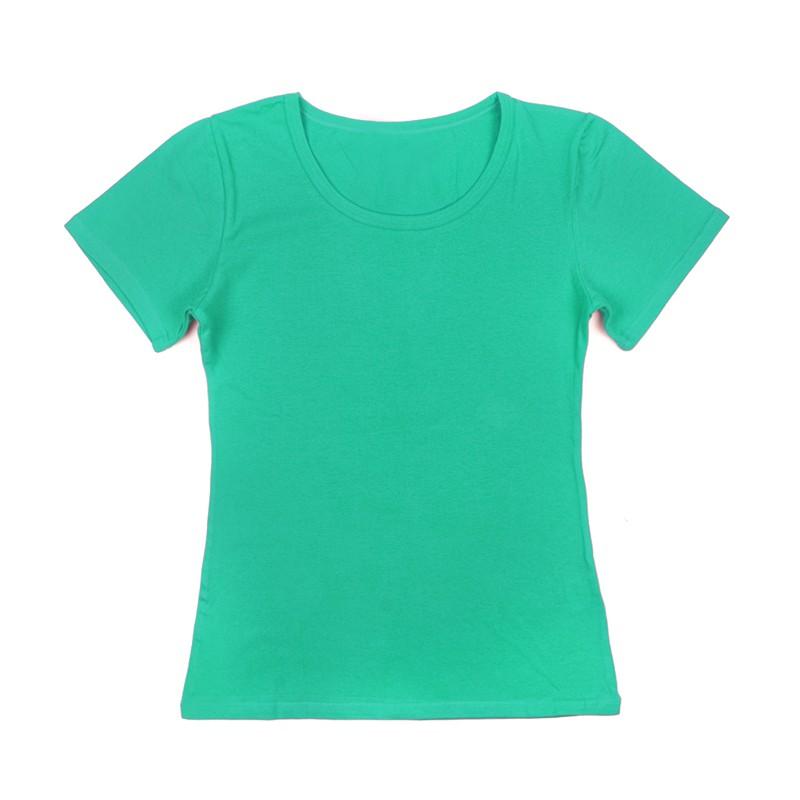 Gładka damska bluzka z krótkim rękawem – miętowy