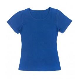 Gładka damska bluzka z krótkim rękawem – szafirowy