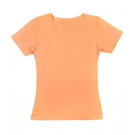 Gładka damska bluzka z krótkim rękawem – morelowy