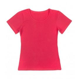 Gładka damska bluzka z krótkim rękawem – amarantowy