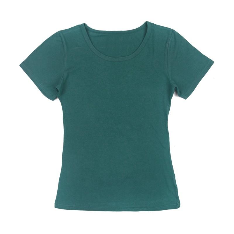 Gładka damska bluzka z krótkim rękawem – morski
